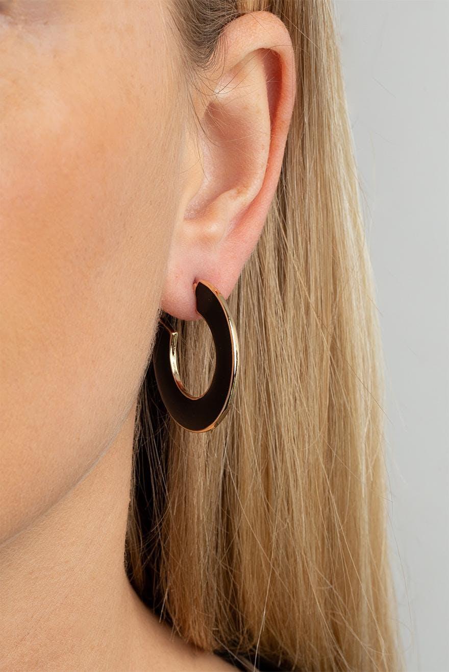 95 Enamel Black 7 EurOhrringe Earrings Gina Hoop Tricot VpqUMLjSGz