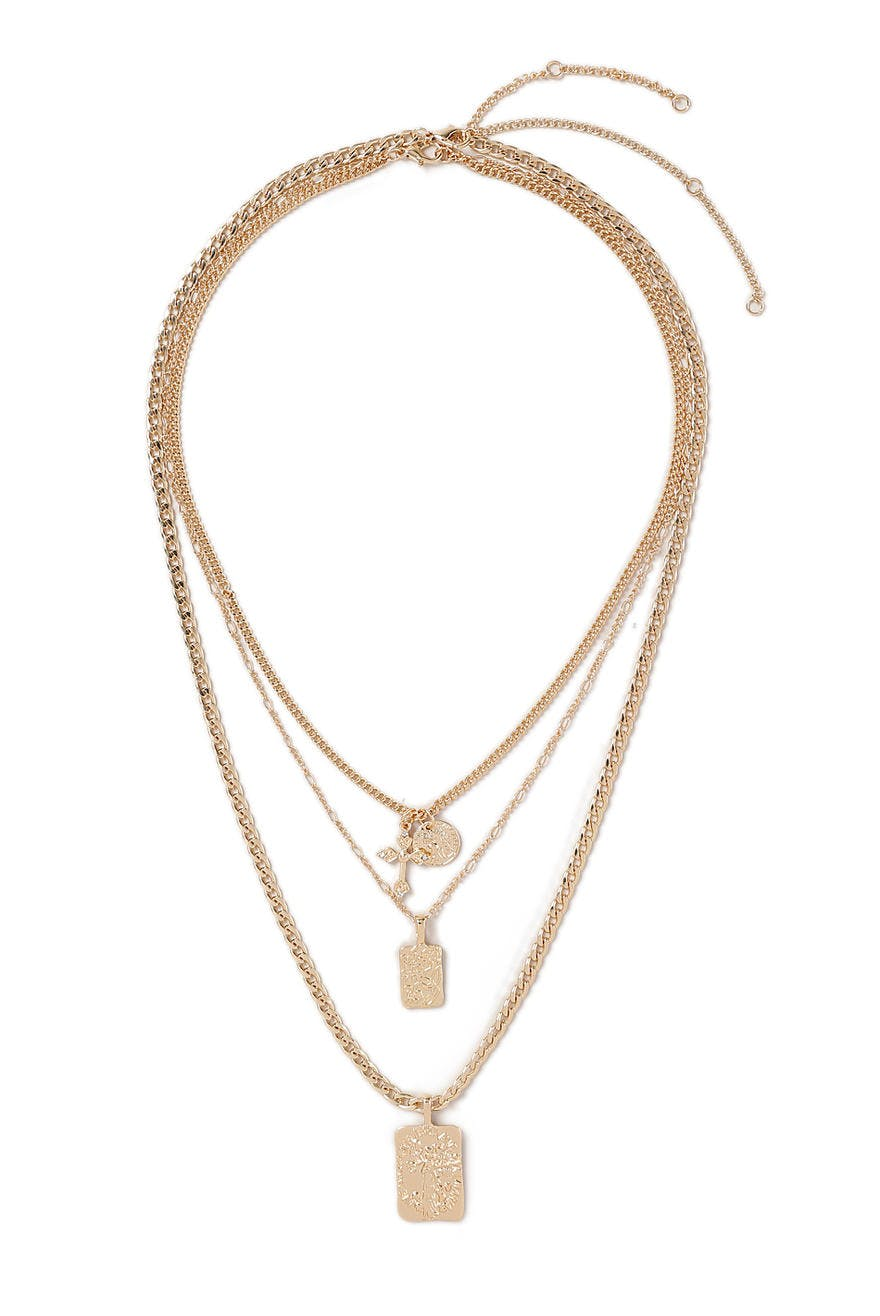 Gold Look Layered Pendant Necklace 12 95 Eur Halskette Gina Tricot