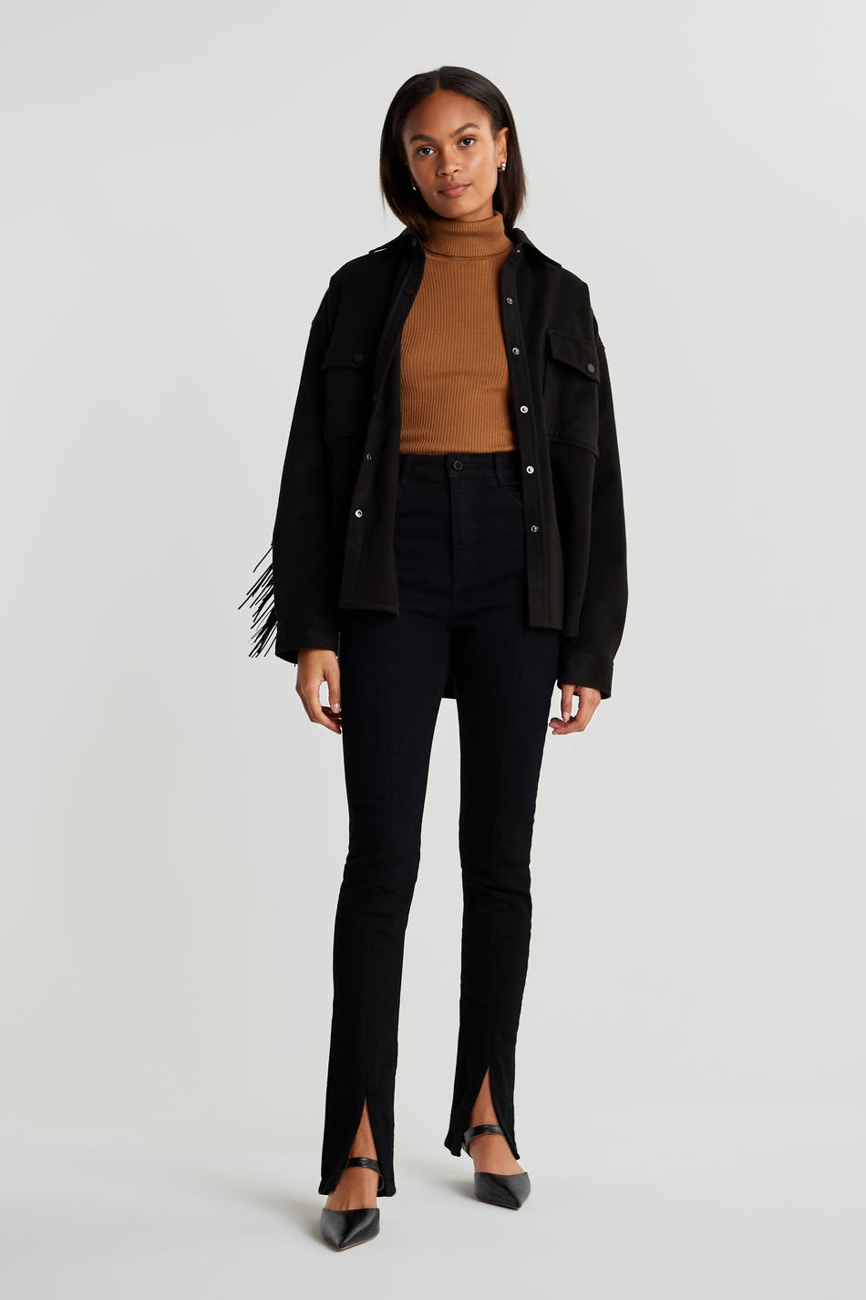 Superhigh slit jeans